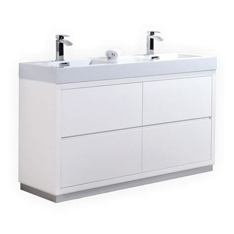 modern kitchen cabinets plastic standing water sink brizo faucet 60 inch double sink white finish free standing modern