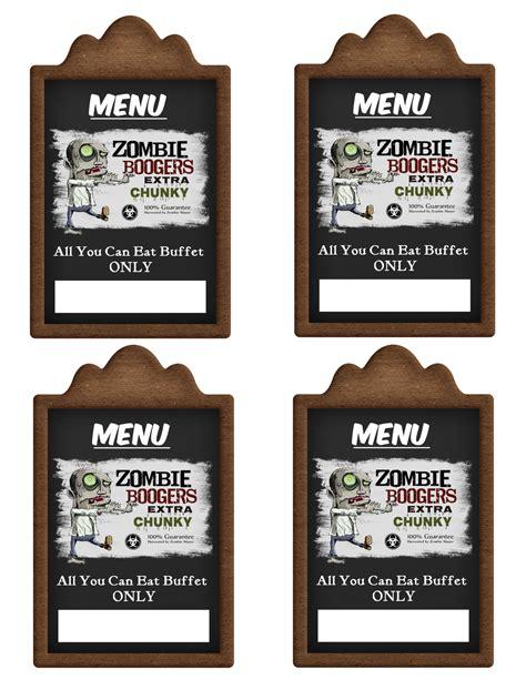 printable menu tags zombie boogers labels printable menu tags