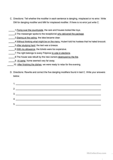 misplaced modifier worksheet high school misplaced modifier worksheet free esl printable worksheets made by teachers