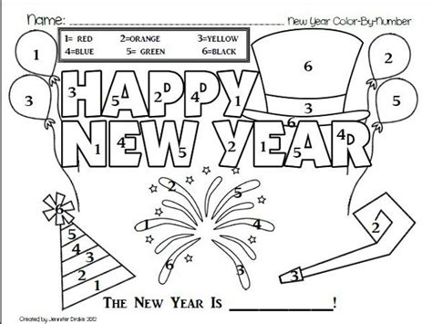 new year 2016 kindergarten activities happy new year coloring by number get coloring pages