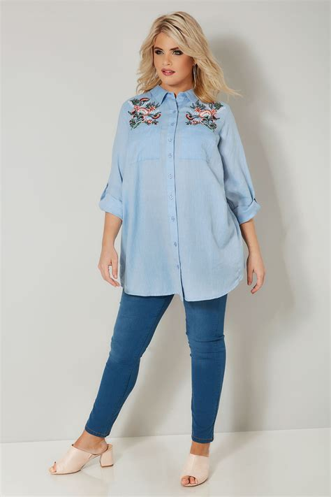 Napoclean Strong By Nry Fashion blue chambray shirt with floral embroidery plus size 16 to 36