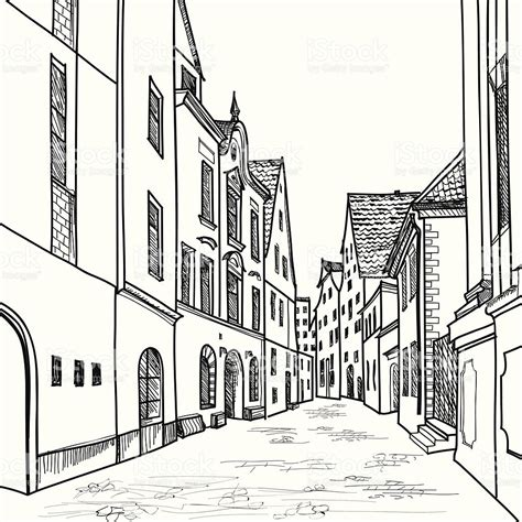 pencil drawings buildings building sketch stock photos european houses and buildings drawing