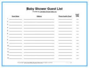 Baby Shower Guest List Template by Pics For Gt Baby Shower Guest List Template