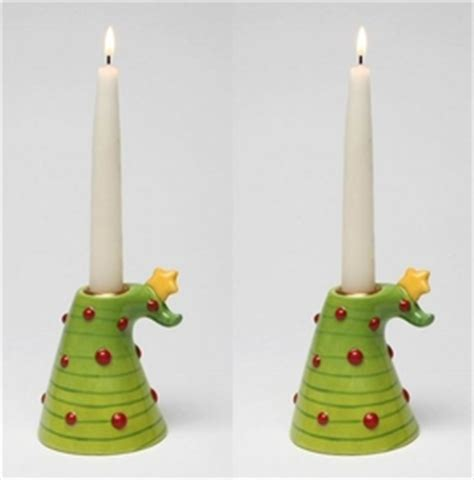 christmas tree taper candle holder set of 2 candle