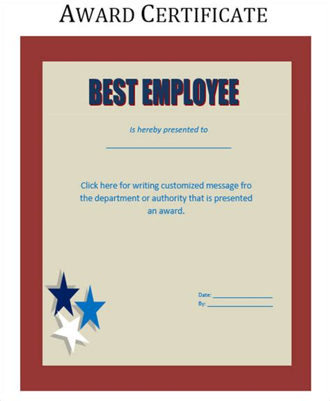 best employee award certificate templates 24 award certificates in word