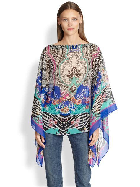 etro scarf print silk poncho top in blue lyst