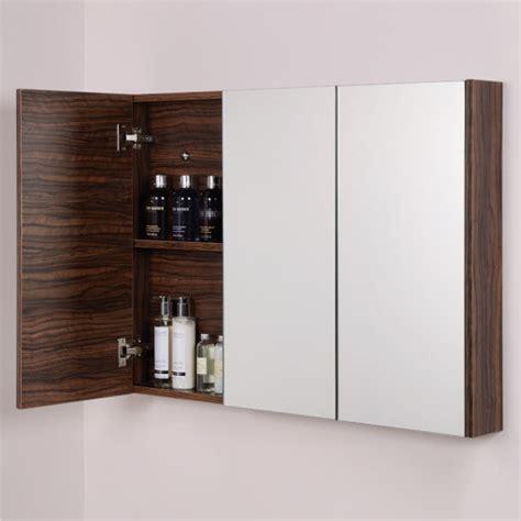 Aspen 3 Door Walnut Mirror Cabinet 650 H 900 W 100 P Walnut Mirror Bathroom Cabinet