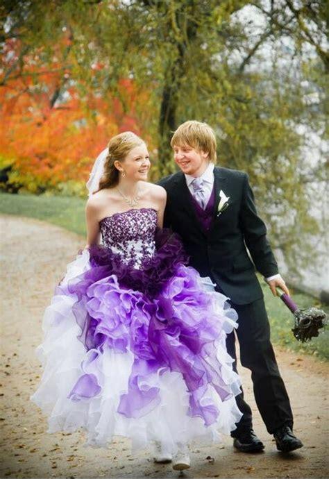 1708074 Ungu Gaun Pengantin Wedding Gown Dress white and purple bridal gown beli murah white and purple