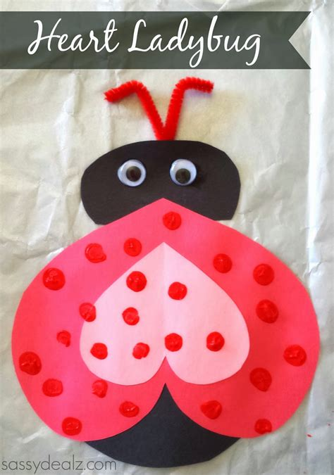 Valentines Paper Crafts - ladybug valentines day craft for crafty morning