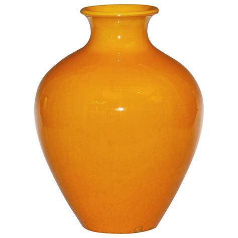 Yellow Decorative Vases by Large Awaji Pottery Vase In Golden Yellow Monochrome Glaze