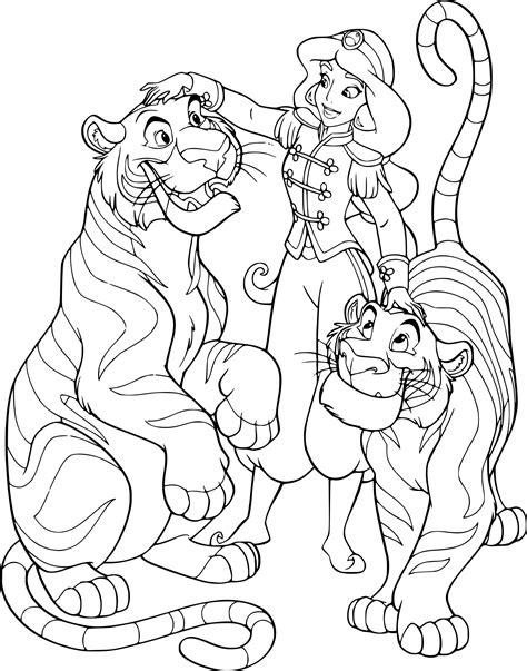 Coloriage Jasmine Et Rajah 224 Imprimer Sur Coloriages Info Princesse Jasmine Coloriage L