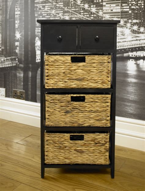 black two drawer three wicker basket storage unit wooden