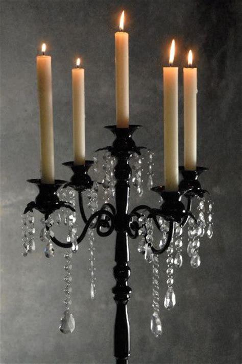 Black Candelabra With Hanging Crystals 32in Pedestal Black Candelabra Centerpieces