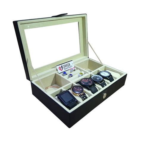 Kotak Jam Tangan Mix Tempat Perhiasan 3in1 Boxes Berkualitas jual jogja craft bk06blcr black kotak tempat jam