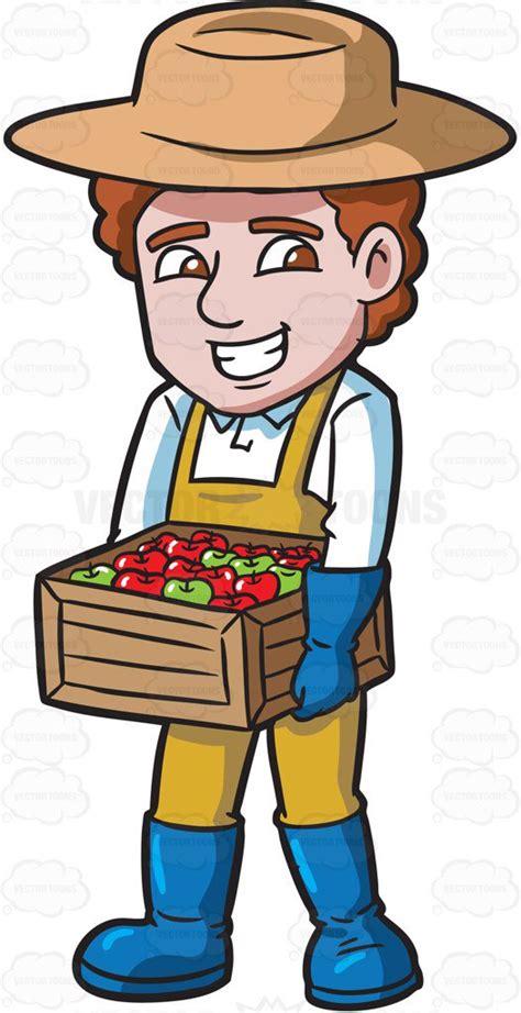 farmer clipart a farmer carrying a box of apples clipart by vector
