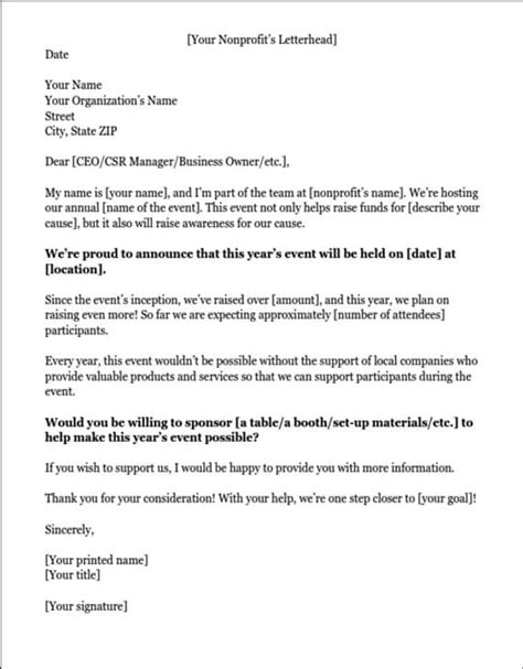 Sponsorship Letter Reply Slip Sponsorship Letters Write Great Proposals With 12 Templates