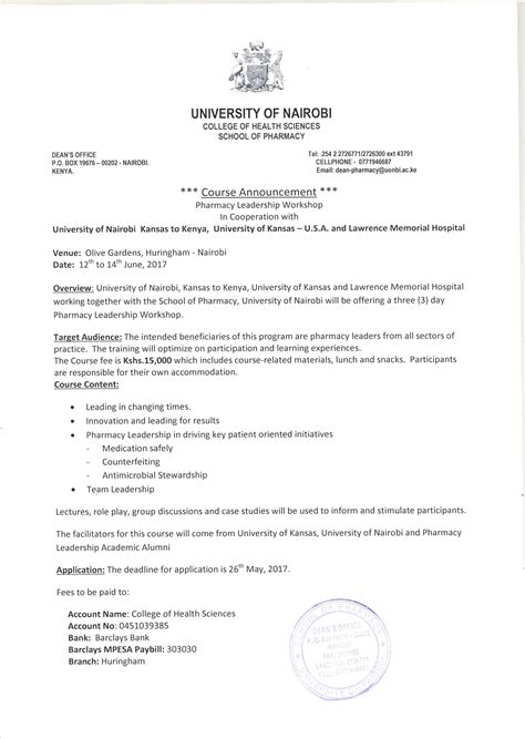 Application Letter Kenyatta Degrees Admission And Regulations In Pharmacy School Of Pharmacy