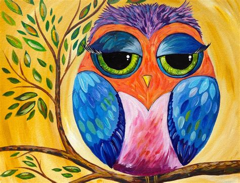 acrylic painting ideas owls colorful owl acrylic painting lesson for beginners