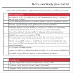 business plan checklist template sle business continuity plan template 8 free