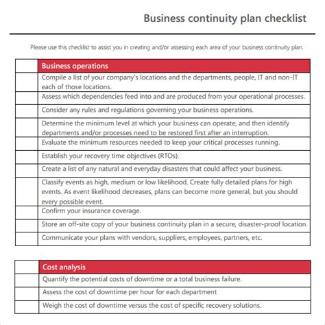 business recovery plan format sle business continuity plan template 12 free
