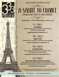 French Cafe Table by 333 S Salute To France Menu Cohn Restaurant Group