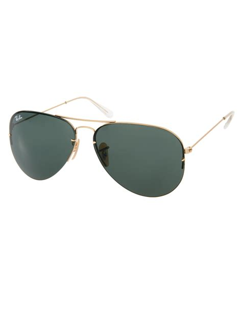 ban aviator sunglasses removable lens set in metallic for lyst
