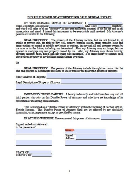 florida real estate only power of attorney form power of
