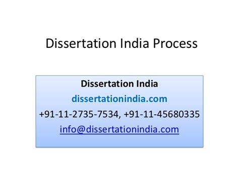 dissertation process dissertation india process