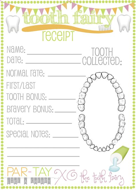 tooth receipt template the tooth came like a cherry