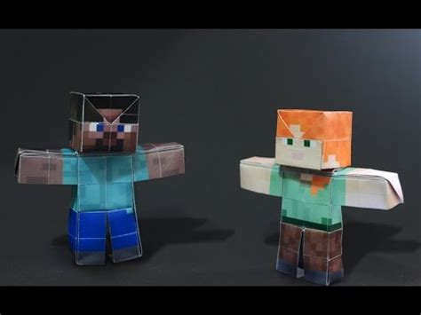 How To Make A Paper Steve - origami minecraft steve alex doll