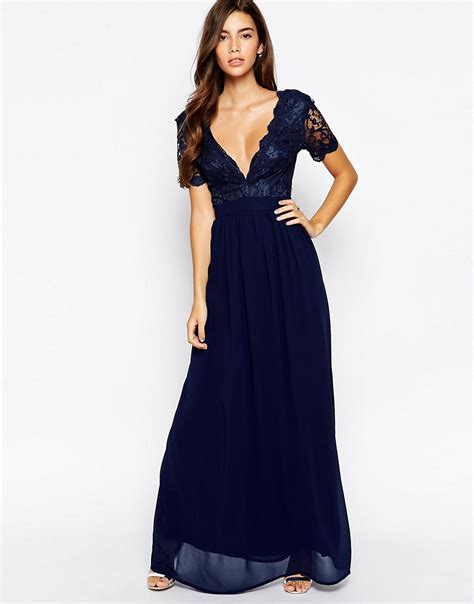 club l club l maxi dress with scallop lace plunge at asos