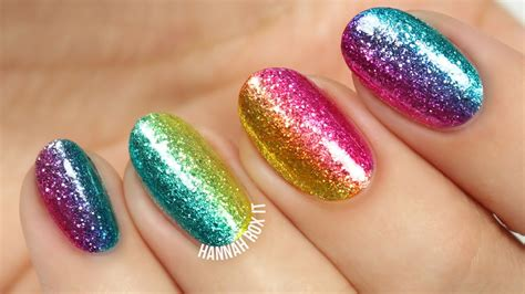 Nail Glitter rock the rainbow glitter nail diy tutorial