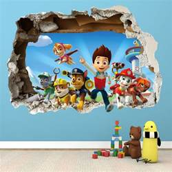 Lego Wall Stickers For Kids Rooms paw patrol smashed wall sticker 3d bedroom boys girls