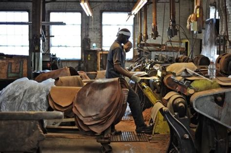 Handmade Factory - inside horween leather factory tannery row