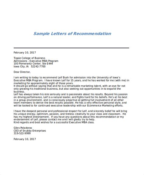 Recommendation Letter For Executive Mba Program by Sle Mba Recommendation Letter 6 Exles In Word Pdf