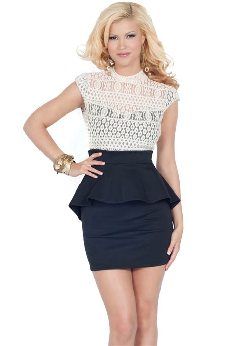 Skirted Dresses by Cap Sleeve High Neck Lace Overlay Fitted Mini Skirt