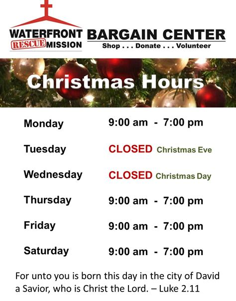 bargain centers thanksgiving christmas store hours
