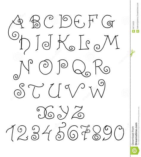 lettere alfabetiche alfabeto di vettore lettere e numeri divertenti disegnati