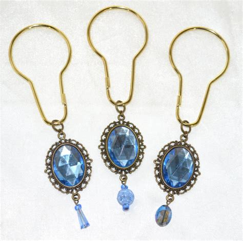 vintage shower curtain hooks shower curtain hooks victorian shower vintage jewels blue