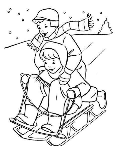 boys sledding coloring page baby crafts pinterest