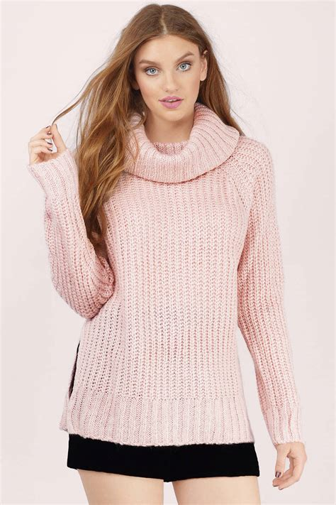 Two Color Sweater Pink blush sweater pink sweater knitted sweater blush top