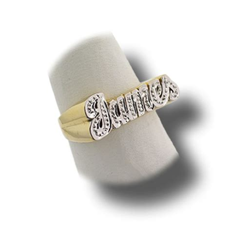 personalized name plate gold ring