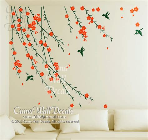 Cherry Blossom Tree Decals For Nursery by Flower Wall Decals Birds Wall Sticker Nursery Mural By Cuma