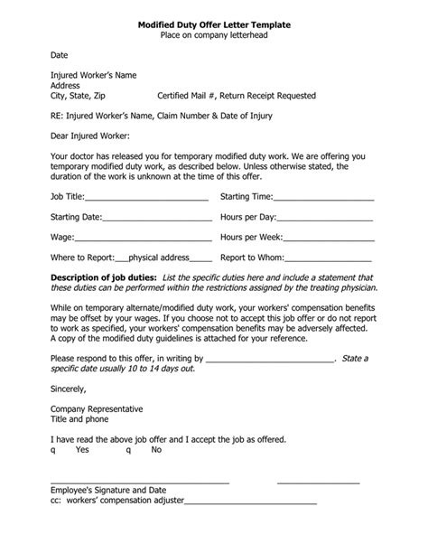 Modified Duty Offer Letter Template In Word And Pdf Formats Duty Statement Template