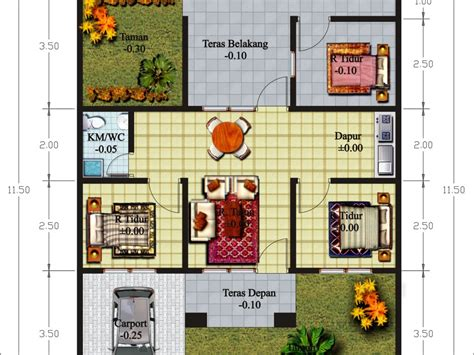 denah rumah sederhana 3 kamar tidur terbaik fimell