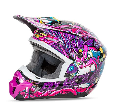 pink motocross helmets kinetic jungle youth purple pink helmet fly racing