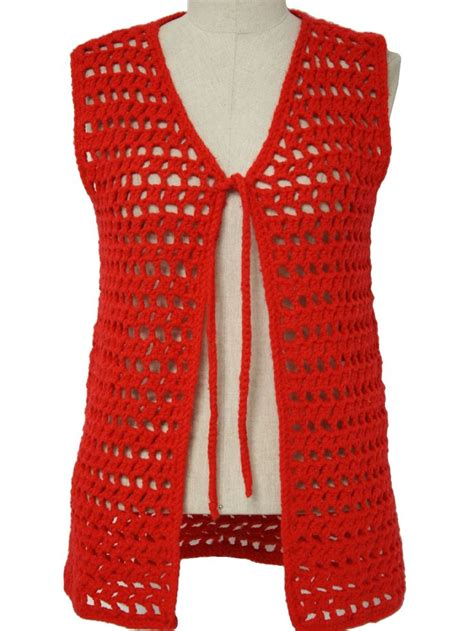 pattern crochet vest womens 70s home crafter womens bright red worsted weight