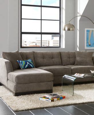 elliot fabric sectional living room furniture collection elliot fabric microfiber 3 piece chaise sectional sofa