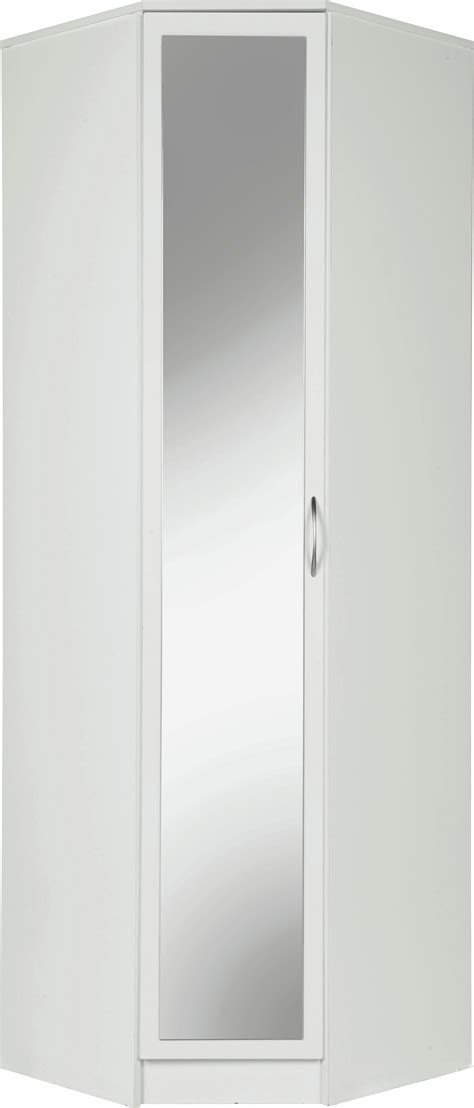 collection cheval 1 door mirrored corner wardrobe white