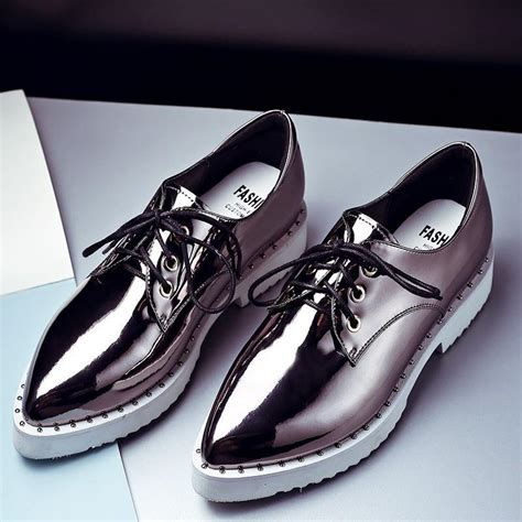 Pointed Brogue Oxfords patent leather oxford shoes 2016 bling lace up